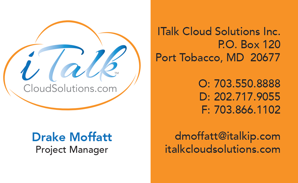 iTalk Cloud Solutions Business Card