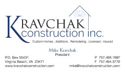 Kravchak Construction Business Card
