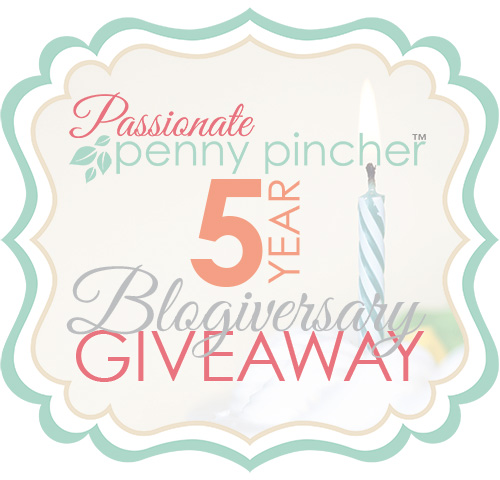 5 year Blogiversary Giveaway graphic